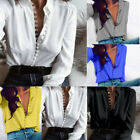 Women Ladies Sexy V-Neck Long Sleeve Satin Loose Blouse Casual Shirt Tops V Size