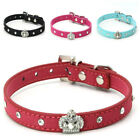 Princess Diamonte Band Rhinestone Crystal Bling PU Leather Dog Cat Pet Collar