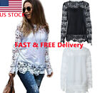 Women Fashion Tee Tops Long Sleeve Shirt Hollow out Flowers Lace Chiffon Blouse