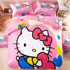 Full Twin Queen Pink Hello Kitt Girls Bedding Set Duvet Cover Pillowcase Sheets