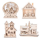 LED Light Wood HOUSE Cute Christmas Tree Hanging Ornaments Holiday Decoration JR