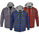 Mens Hooded Quilted Padded Shirt Lumberjack Flannel Work Jacket Check Warm M-XXL