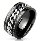 New Black IP Stainless Steel Bible Verse Spin Ring with Chain Inlay Sizes 9-14