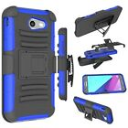Samsung Galaxy J3 Emerge Case Cover Dual Layer Drop Protection Kickstand Blue