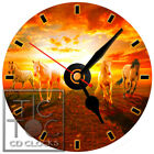 S-800 CD CLOCK-FOUR HORSES RUNNING IN TO THE SUNSET-DESK,WALL,OFFICE,HOME,CLOCKS