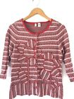 ANTHROPLOGIE MOTH Flower Stripe Cardigan Sweater Top Red Embroidered Large L G5
