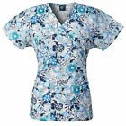 Medgear Womens Fashion Scrubs Top, Mock-Wrap with Back Ties, 2 Pockets 109P-CFRA