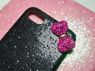 iPhone 8 phone case hot pink crystal bow on elegant glittering case