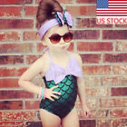 US Baby Girls Cartoon Mermaid Bikini Swimwear Costume Bathing Swim Suit Headband