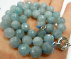 "Natural 10 mm Faceted Round Aquamarine Beads Necklac 18""AAA"