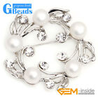 40mm Freshwater Pearl White Gold Plated Brooch Fashion Jewelry Free Shipping