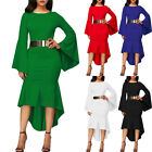 Women Bell Sleeve Mermaid High Low Bodycon Cocktail Party Midi Dress With Belt