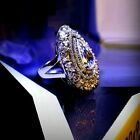 18k White Gold Large Bold Ring made w/ Swarovski Crystal Clear Stone Index Ring
