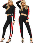 Womens Long Sleeve Hood Popper Cropped Sweatshirt Jogging Bottoms Loungewear Set
