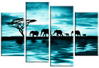Teal Canvas Art Picture Elephants Sunset Wall Art various sizes and styles