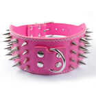 4 Rows Cool Sharp Spiked Studded Rivets Leather Dog Collars