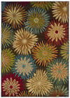Black Transitional Machine Made Petals Flowers Leaves Area Rug Floral 2820A