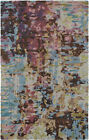 Blue Contemporary Viscose Splotches Splashed Colorblock Area Rug Abstract 21902
