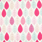 100% Cotton Poplin Rose & Hubble Fabric SUMMER LEAVES PINK Material Metre FQ