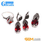 Drop Stone Rivets Beads Leaves Earrings Pendant Ring Jewelry Sets + Gift Box