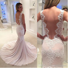 Pink Mermaid Lace Wedding Dresses 2018 Sexy Backless Scoop Appliques Bridal Gown