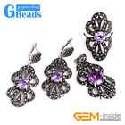 Rhinestone Rivet Beads Butterfly Earrings Pendant Ring Jewelry Set with Gift Box