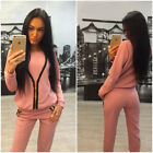 New Womens Casual Zipper Hoodie & Pants Gy Suit Sports Wear Solid Workout Suit