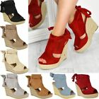 Womens Ladies High Wedge Espadrille Tie Up Platform Sandals Summer Party Shoes