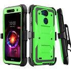 For LG X Charge Fiesta LTE Phone Case Hybrid Stand Holster Belt Clip Armor Cover