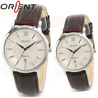 Genuine ORIENT Quartz Date Men Women Modern dress Classic Brown band watch