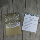 60-Laer cut gold Pocket fold Wedding Invitation cards. DIY pocket Party invites