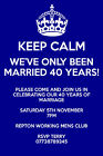 Personalised 20/30/40/50th wedding anniversary party invites inc envelopes (AP2)
