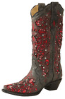 Corral Women's Red Glitter Inlay & Crystals Boot - Black/Red