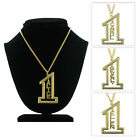 Vintage Number One #1 Name Pendant Necklace Gold Tone