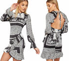 Womens Baroque Animal Print Open Back Lined Satin Party Dress Ladies Long Sleeve