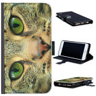 (BG0293) BROWN CAT WITH GREEN EYES LEATHER WALLET PHONE CASE PHONE COVER