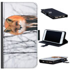(BG0269) FOX IN SNOW LEATHER WALLET PHONE CASE PHONE COVER