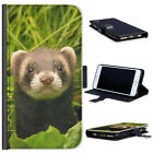 (BG0226) FERRET IN GRASS LUXURY LEATHER PHONE CASE PHONE COVER