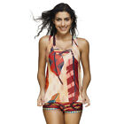3 Pieces Athletic Swimwear Swimsuit Boyshort Splice Tankini Plus Push Up Padded