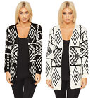 Womens Knitted Aztec Print Cardigan Top Ladies Long Sleeve Open Design New 8-14