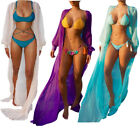 Ladies Long Sleeve Beach Long Dress Sheer Cardigan Robe Swimwear Bikini Cover Up