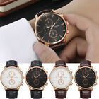 UK Luxury Fashion Faux Leather Watch Mens Stainless Steel Quartz Analog Watches