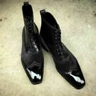 Handmade Men black wing tip boots, Men Suede and leather ankle boots, Men boots