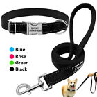 Reflective Personalized Dog Collars Custom Engraved Dog Collar&Leash Pink Blue