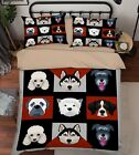 3D Cute Dog Icons 6 Bed Pillowcases Quilt Duvet Cover Set Single Queen US