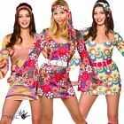 Womens 60s 70s Retro Go Go Girl Hippy Hippie Mini Fancy Dress Outfit S M L XL