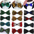 Real Feather Bow Tie Cravat Bow Tie Wedding Party Necktie Fashion High-end Tie