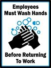 Employees Wash Hands - STICKER Decal Sign - Workplace Restroom Bathroom Office