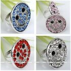 Women Smile Face Metallic Crystal Rhinestone Cocktail Finger Ring Fashion Us6.5