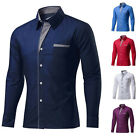 US Men Fashion Business &Casual Shirts Top Fly Patch Work Dress Lapel Shirts